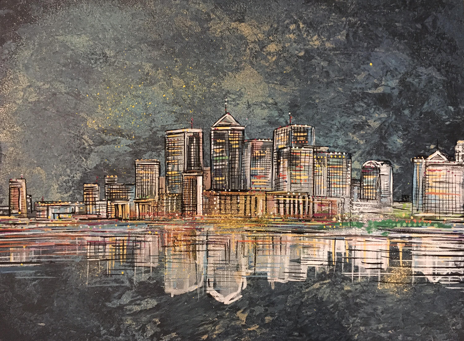 London Docklands - Original Painting On Canvas