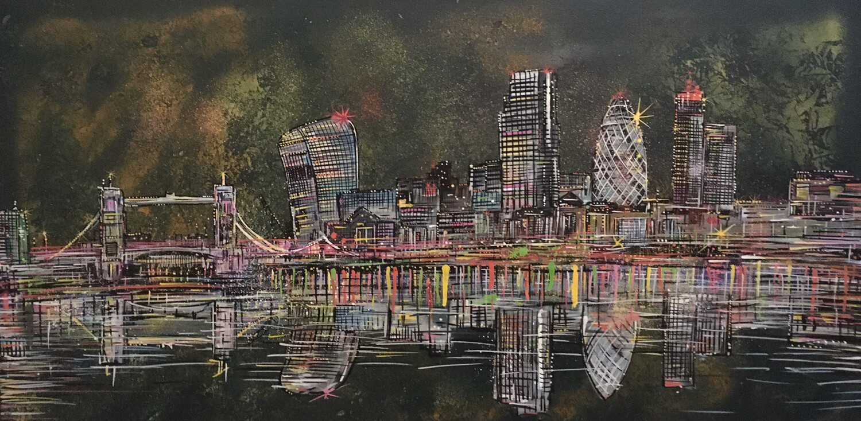 London Bridge & Skyline At Night  - Original Painting On Canvas