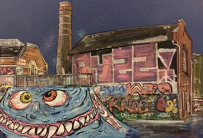 Dean Lane Skatepark - Original Painting on Card