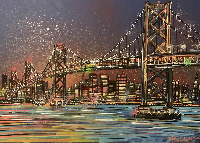 Oakland Bay bridge - Original Painting on Card