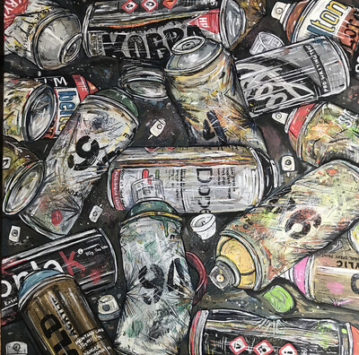 Spray Cans - Original Painting On Canvas