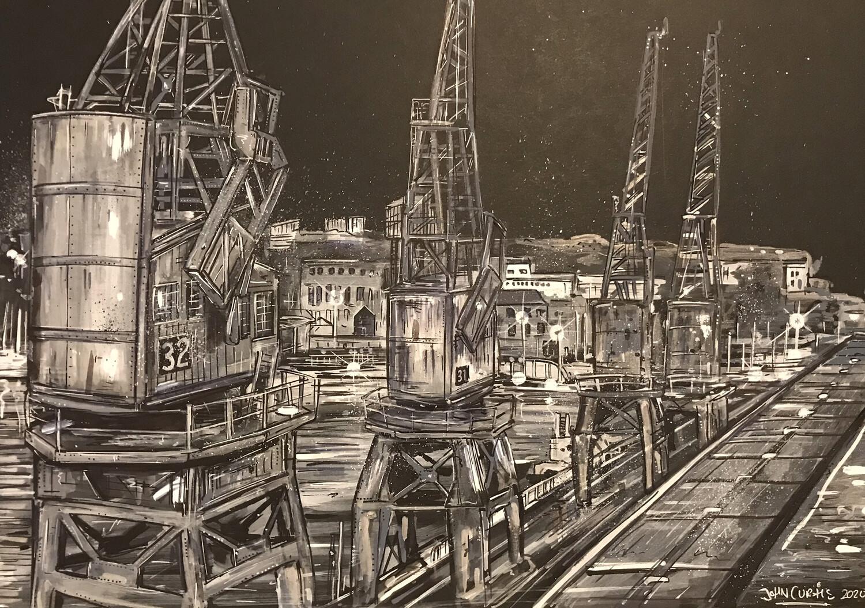 Bristol Cranes - Original Painting on Card
