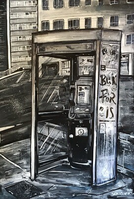 Phone Box - Original Painting On A4 Board