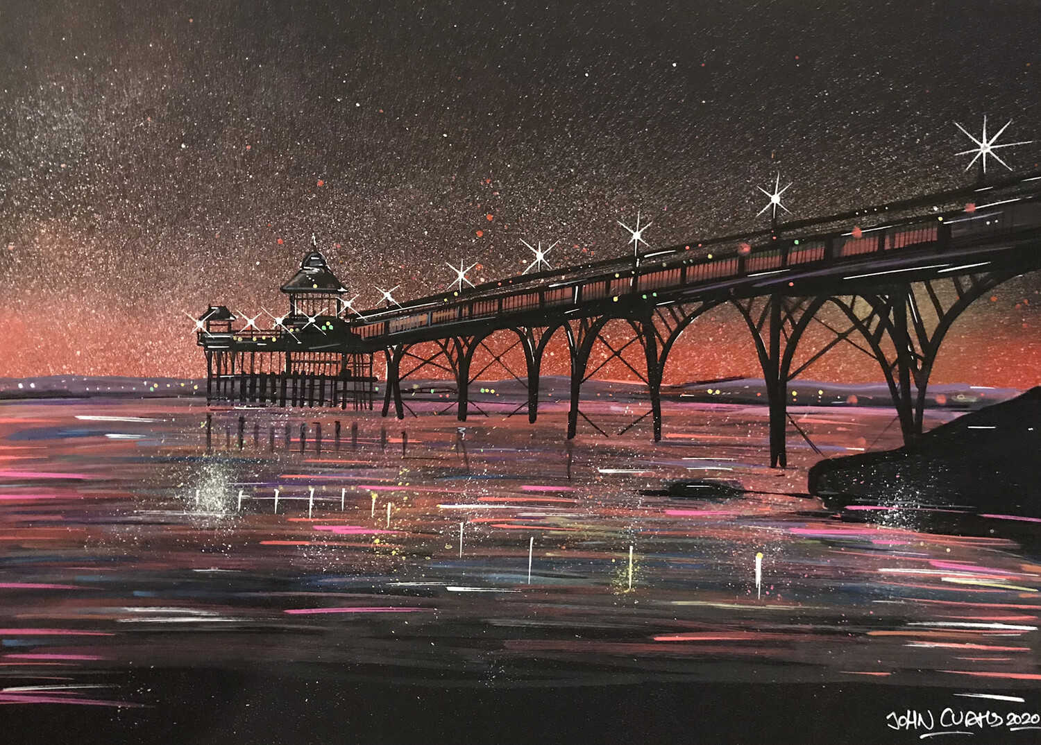 Clevedon Pier - Original Painting On Card