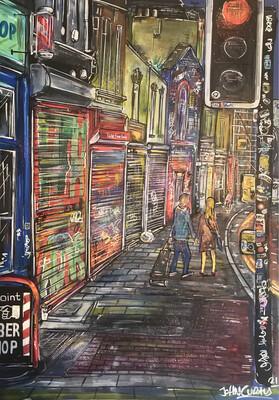 Shutters - Stokes Croft Bristol) - Original Painting on Card