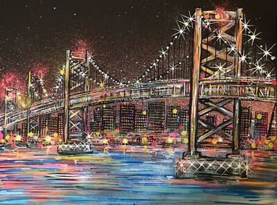 Oakland Bay Bridge - Original Painting On Canvas