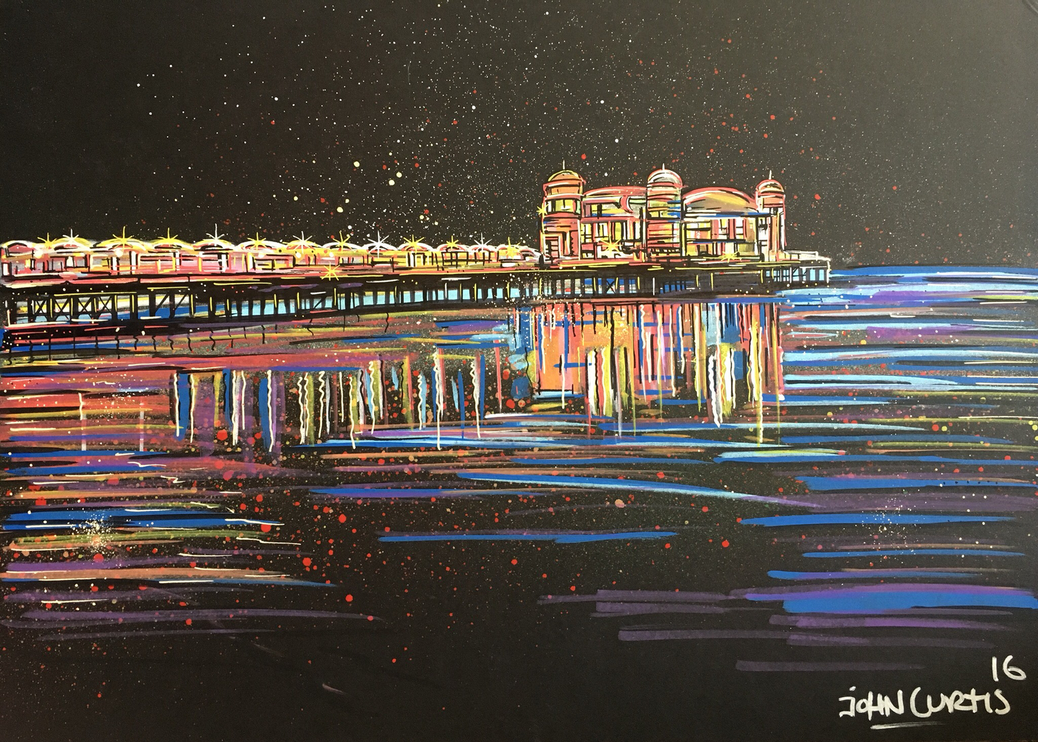 Weston Pier at Night - Original Painting