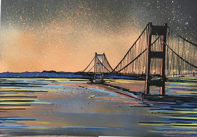 Severn Bridge sunset - Original Painting