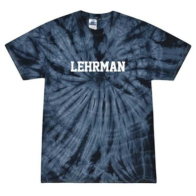 Navy Tie dye Short-Sleeved T-Shirt with Lehrman in White