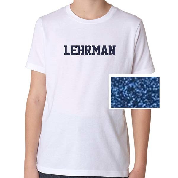 White Short-Sleeved T-Shirt with Navy Glitter