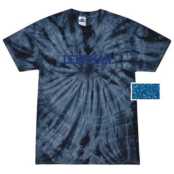Navy Tie Dye Short-Sleeved T-Shirt With Lehrman in Royal Blue Glitter