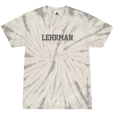 Gray Tie Dye Short-Sleeved T-Shirt with Lehrman in Gray