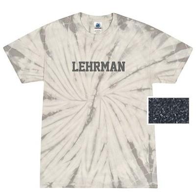 Gray Tie Dye Short-Sleeved T-Shirt with Lerhman in Gray Glitter