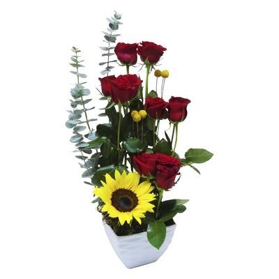 Base con rosas y girasol