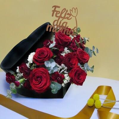 Caja corazón con rosas