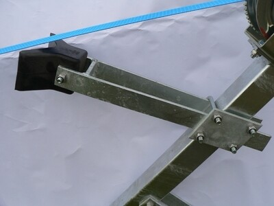 Boat trailer rubber bow stop & snubber arm