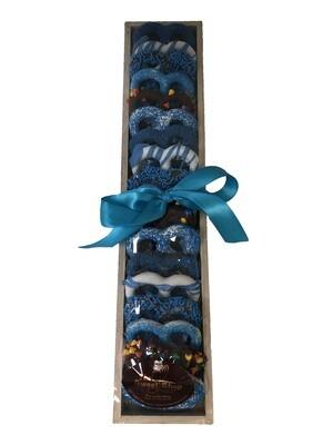 Blue Long Wood Rectangular Pretzel Tray