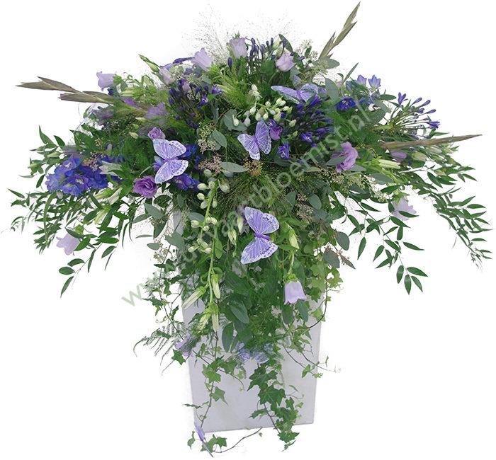 Afhangend (bestelnr. MF137) Uitgevoerd in bloemen die in het seizoen verkrijgbaar zijn (Pilaar in bruikleen)