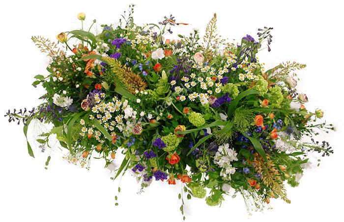 Tuin (bestelnr. MF141) Uitgevoerd in bloemen die in het seizoen verkrijgbaar zijn, afgebeeld 150 cm l