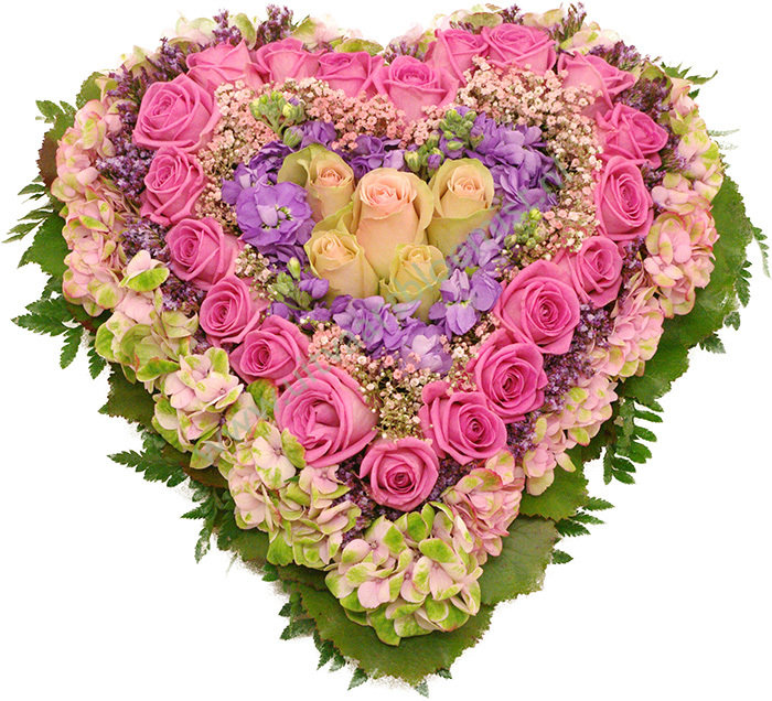 Gesloten bloemenhart (bestelnr. MF173) Uitgevoerd in bloemen die in het seizoen. Afgebeeld 55 cm ø