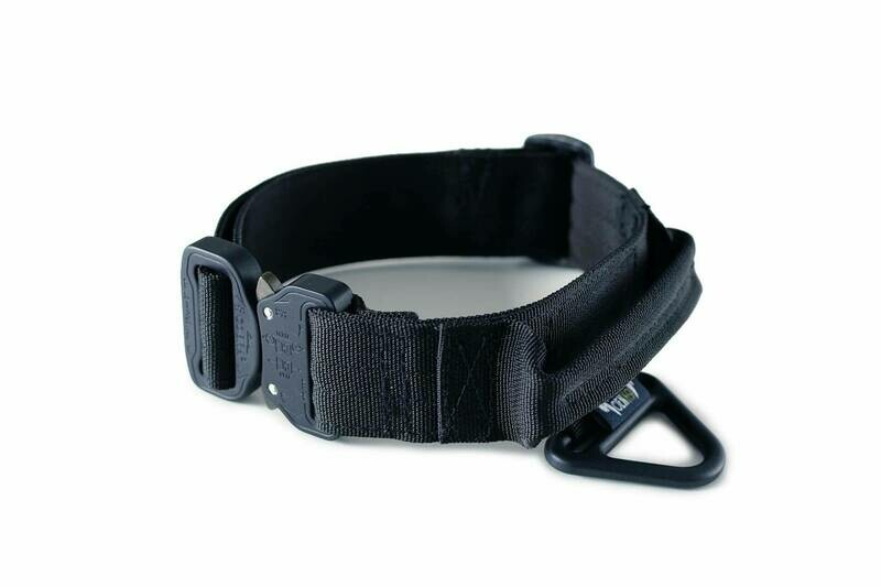 TACTICAL DOG COLLAR, COBRA BUCKLE, HANDLE AND V-RING