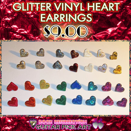 Glitter Vinyl Heart Earrings