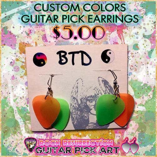 CUSTOM Color Guitar Pick Earrings (Pick Your Colors!)