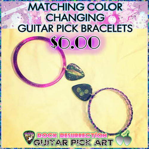 Matching best friend color changing guitar pick bracelets