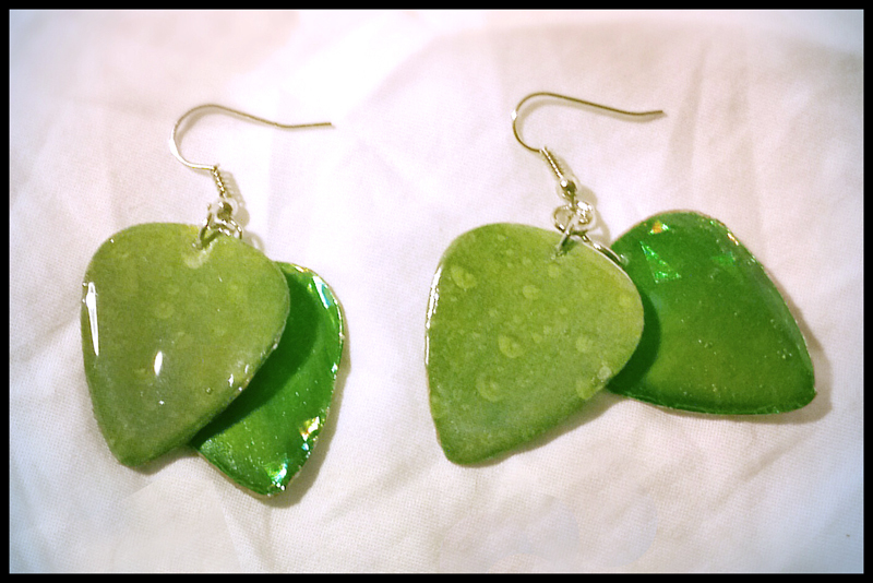 Green Leaf Guitar Pick Earrings