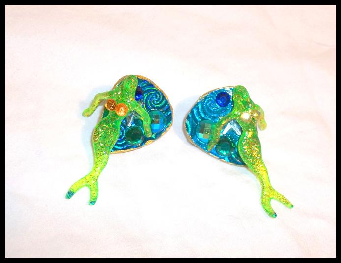 Green Cocktail Mermaid Stud Guitar Pick Earrings
