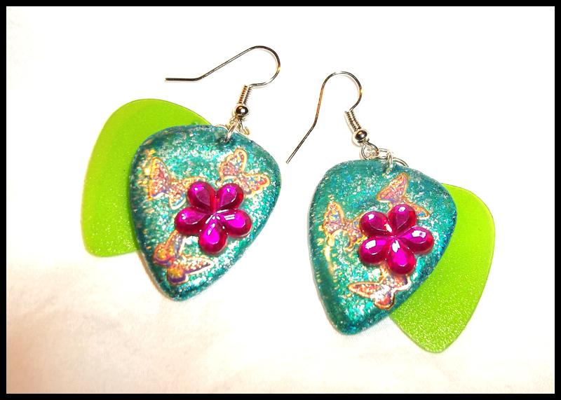 Flowers and Butterflies Guitar Pick Earrings