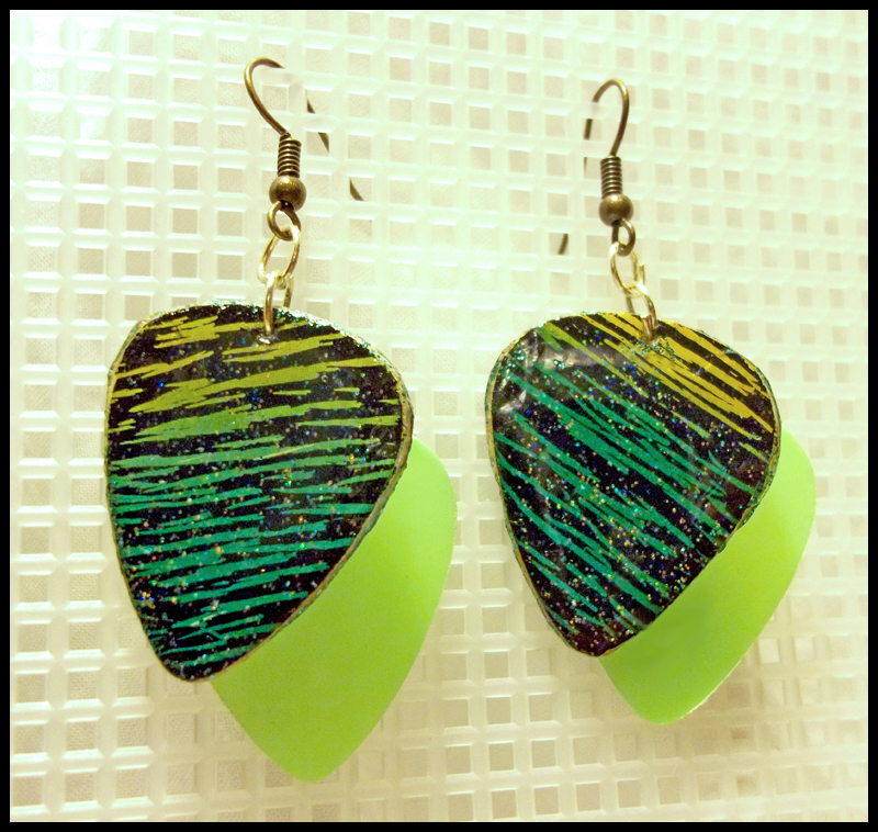 Scratchboard Guitar Pick Earrings