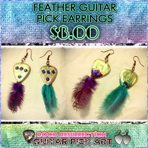 Feather Guitar Pick Earrings