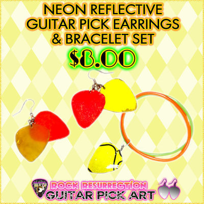Neon Reflective Guitar Pick Earrings & Bracelet Set
