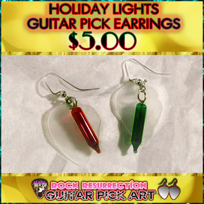 CUSTOM Color Holiday Lights Guitar Pick Earrings (Pick Your Colors!)