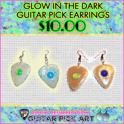 Glow In The Dark Guitar Pick Earrings