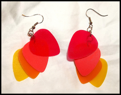 Flames Guitar Pick Earrings