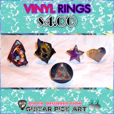 Vinyl Rings made from vinyl records