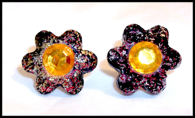Flower Stud Earrings made from Vinyl Records