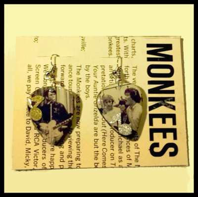 Monkees Guitar Pick Earrings