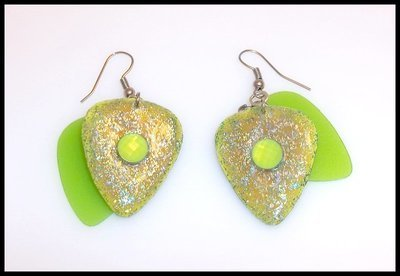 Neon Green Guitar Pick Earrings