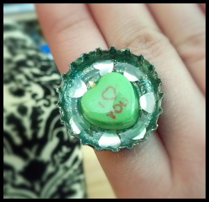 Candy  Heart Bottle Cap Ring