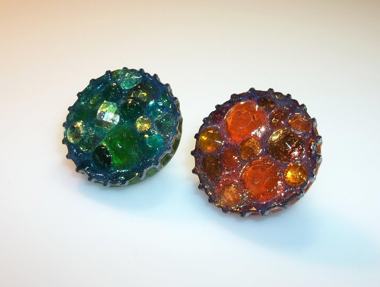 Gems Bottle Cap Pins Set