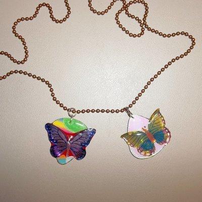 Metallic Butterfly Guitar Pick Pendants