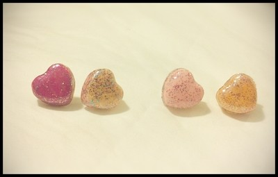 Glitter Candy Heart Stud Earrings