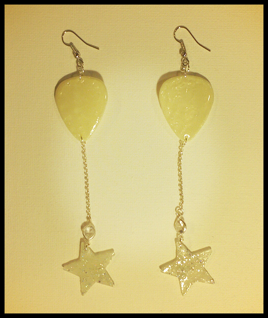 Dangle Glow In The Dark Guitar Pick Earrings