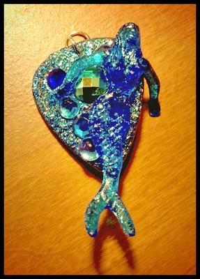 Blue Cocktail Mermaid Guitar Pick Pendant