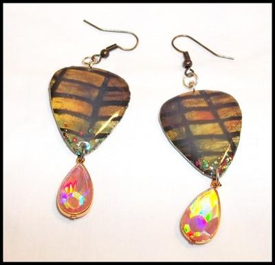 Tiffany Art Dangle Guitar Pick Earrings
