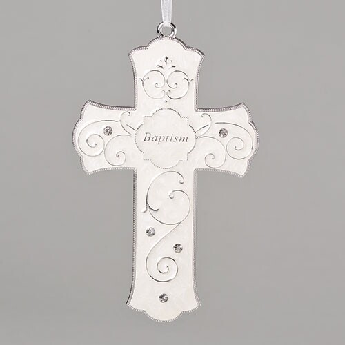 "7.25"" Pearl White Glossy Baptism Cross"