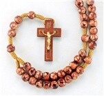 8MM ROUND MARBLEIZED BURGUNDY BEADS ON A CORD WITH WOOD CRUCIFIX ROSARY